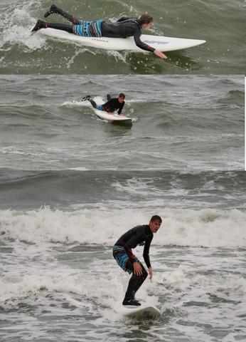 Wellenreiten mit Windsurfboard - (surfen, Windsurfen, wellenreiten)