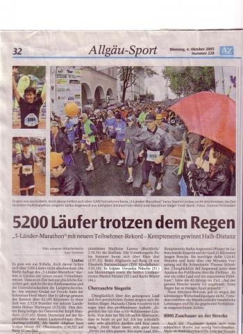 Zeitungsbericht Der Tag danach - (laufen, Marathon, Marathon laufen)